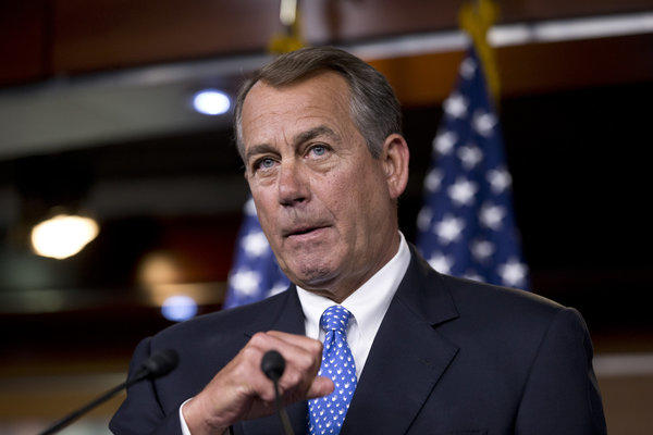 House Speaker John Boehner during a news conference on Capitol Hill in Washington, D.C.