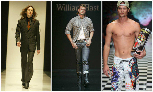 Past iterations of Los Angeles Fashion Week shows have included looks from, left to right, Bao Tranchi (2003), William Rast (2006) and Ed Hardy (2008). Organizers of a new, dedicated men's fashion week expect to debut at the California Market Center this October.