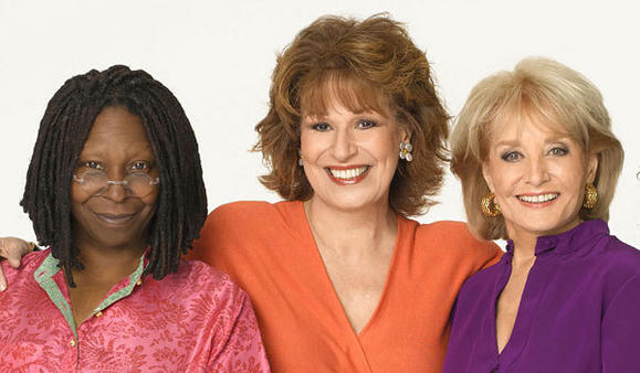 "Whoopi Goldberg, left, Joy Behar and Barbara Walters of ""The View."""