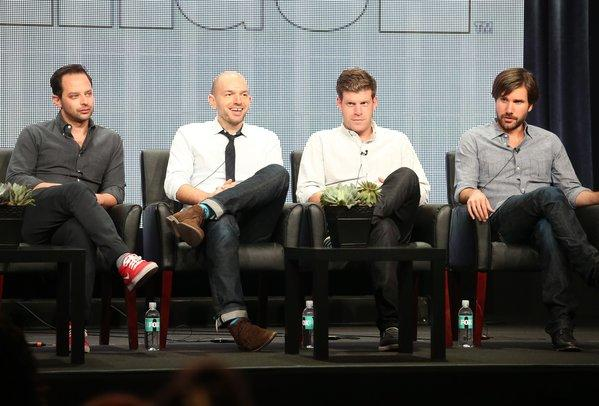 """The League"" actors Nick Kroll, left, Paul Scheer, Stephen Rannazzisi, and Jon Lajoie discuss the show Friday during the FX portion of the Television Critics Assn. summer press tour in Beverly Hills."