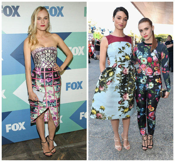 Young Hollywood is embracing floral prints. Diane Kruger, left, attends the Fox Summer All-Star Party in West Hollywood. At right, Crystal Reed, left, and Holland Roden pose at the Young Hollywood Awards in Santa Monica.