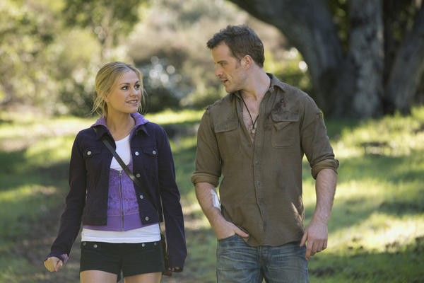 "Sookie Stackhouse (Anna Paquin) agonizes over a marriage proposal from faerie/vampire Warlow (Rob Kazinsky) in ""True Blood."""