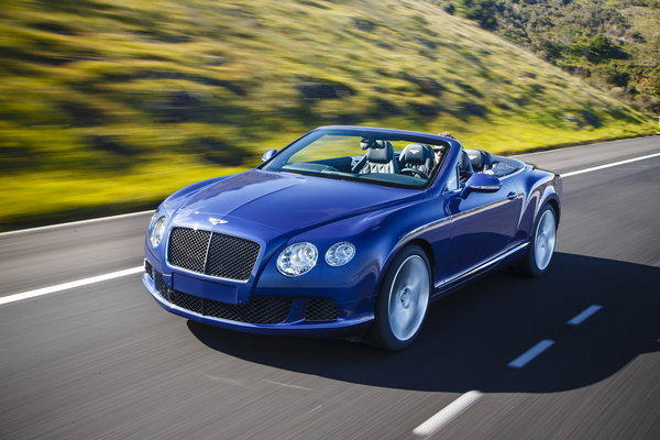 The Bentley GTC Speed has 616 horsepower and 590 pound-feet of torque from a 6.0-liter W-12 engine. The model Highway 1 tested sells for $270,215.
