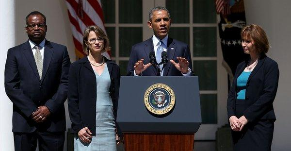 President Obama with judicial nominees Robert Wilkins, Cornelia T.L. Pillard and Patricia Millett.