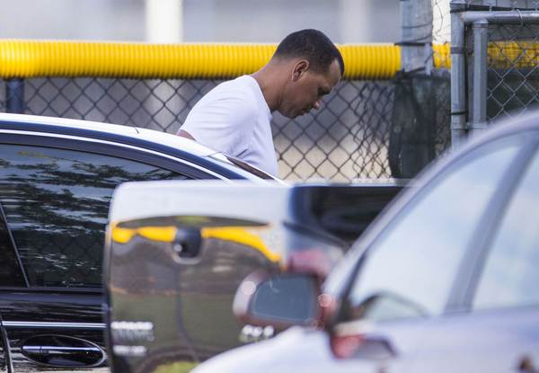 New York Yankees' Alex Rodriguez arrives at the team's minor league complex in Tampa on Friday.