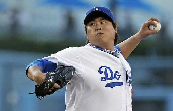 Dodgers Hyun-Jin Ryu pitches against the Cincinnati Reds on July 27.