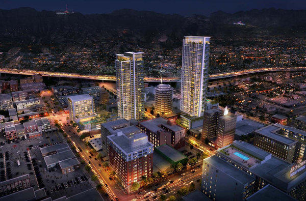 An artist's rendering of the proposed Millennium towers sandwiching the Capitol Records building in Hollywood.