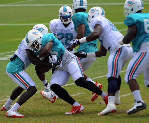 Daniel Thomas powers through the line on this carry up the middle during the Dolphins' practice Friday.