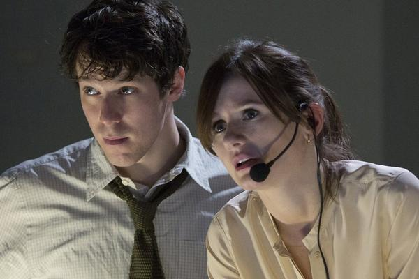 "John Gallagher Jr. and Emily Mortimer in a scene from ""The Newsroom"" on HBO."