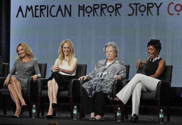 """American Horror Story: Coven"" cast members Jessica Lange, from left, Sarah Paulson, Kathy Batesand Angela Bassett attend a panel discussion on the show at the FX 2013 Summer TCA press tour at the Beverly Hilton Hotel on Friday, Aug. 2, 2013, in Beverly Hills."