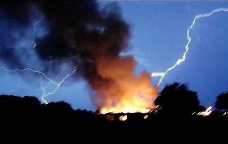 Lightning was thought to be the cause of a fire in Tangerine that burned down a vacant house.