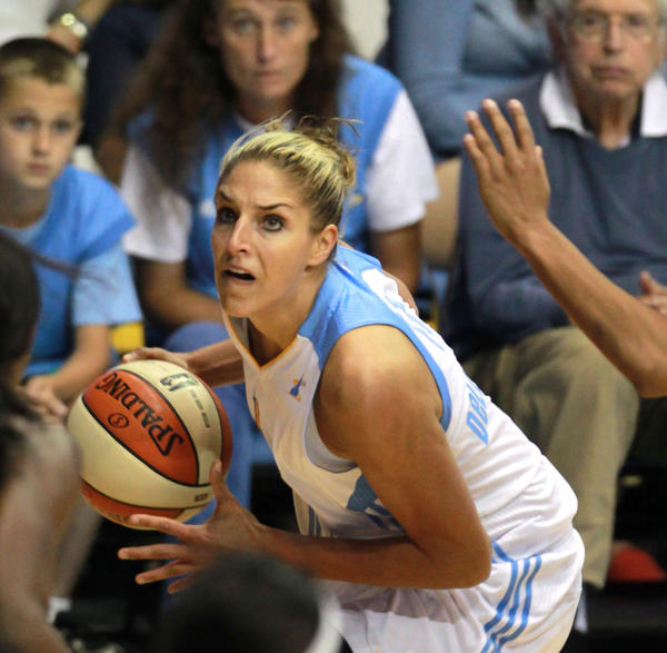 The Sky's Elena Delle Donne drives towards the basket against the Mystics at the Allstate Arena on July 10.