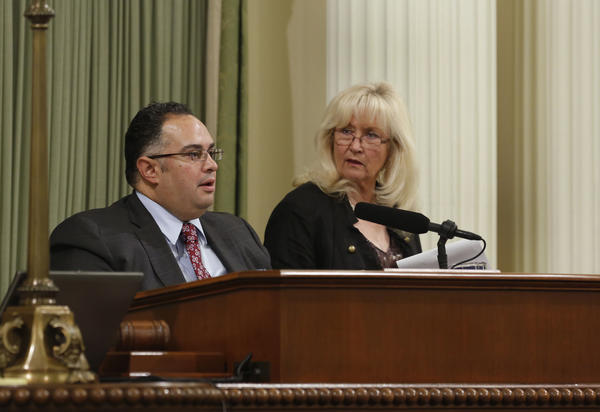 Assembly Speaker John A. Perez, D-Los Angeles, and Assembly Minority Leader Connie Conway, R-Tulare, confer before the Assembly went on its summer recess. The Assembly returned Monday.