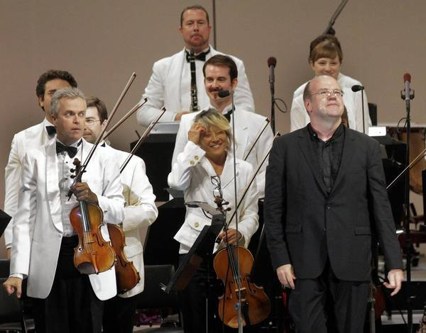 Bernard Labadie, right, conducts the Los Angeles Philharmonic at the Hollywood Bowl.