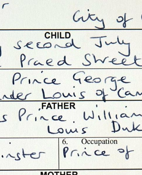 This picture shows the birth registration for Prince George of Cambridge, after the birth registration formalities were completed in London on August 2, 2013.