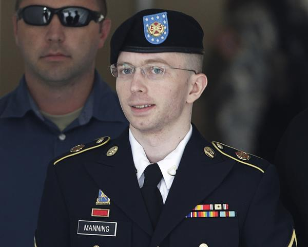 U.S. Army Private First Class Bradley Manning departs the courthouse at Fort Meade, Maryland on July 30, 2013.