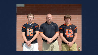 Representing Somerset at the LHAC football media day in Johnstown on Friday were, from left: Zack Baker, Somerset head football coach Bob Landis and Doug Berkebile.
