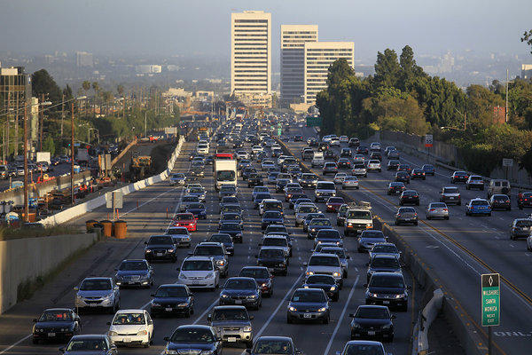 Traffic crawls along the northbound 405 Freeway.