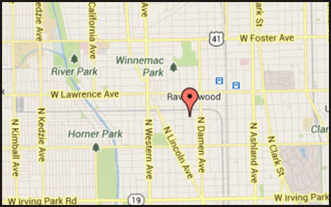 Map of location of where a man was found lying dead in the street in the city's Ravenswood neighborhood.