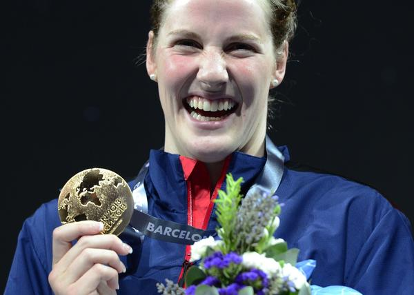 Gold medalist Missy Franklin poses on the podium during the award ceremony of the final of the women's 200-meter backstroke.