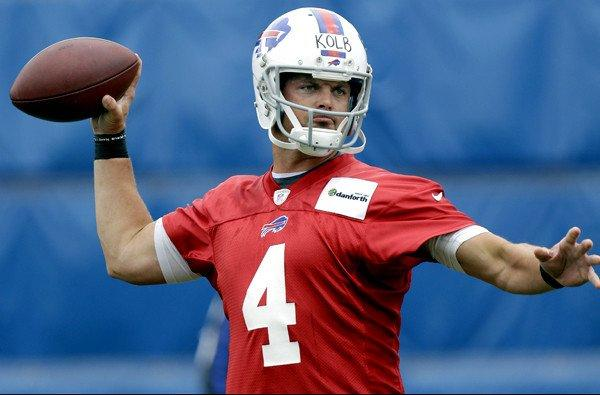 Bills quarterback Kevin Kolb takes part in a mini-camp this summer in Orchard Park, N.Y.