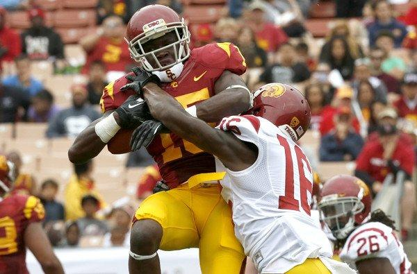 Trojans receiver Nelson Agholor makes a catch during USC's spring scrimmage.