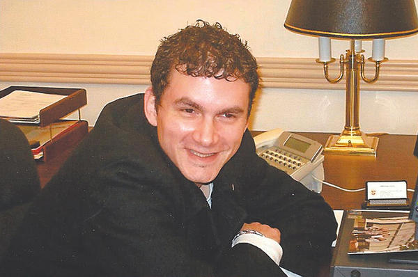 """Carmen """"Joey"""" Veneziano is seen in this picture taken in the student council office at the University System of Maryland at Hagerstown."""