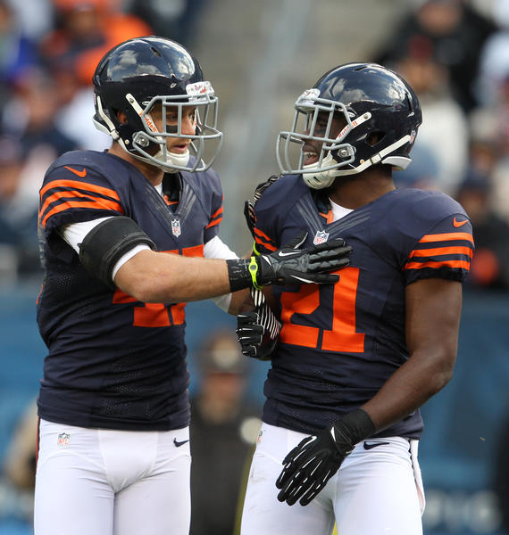 Bears safeties Chris Conte, left, and Major Wright during a win over the Panthers on Oct. 28, 2012. (Nuccio DiNuzzo/Tribune Photo)