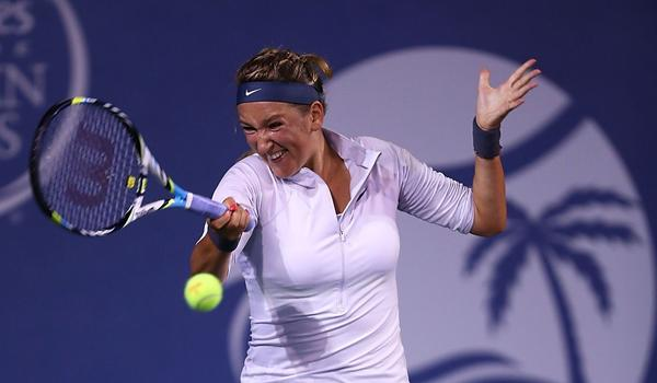 Victoria Azarenka returns a shot during her victory over Urszula Radwanska at the Southern California Open on Friday.