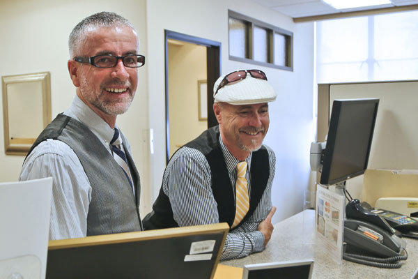 Bruce Fox, right, and Colum O'Hare apply for a marriage license in San Diego County last month.