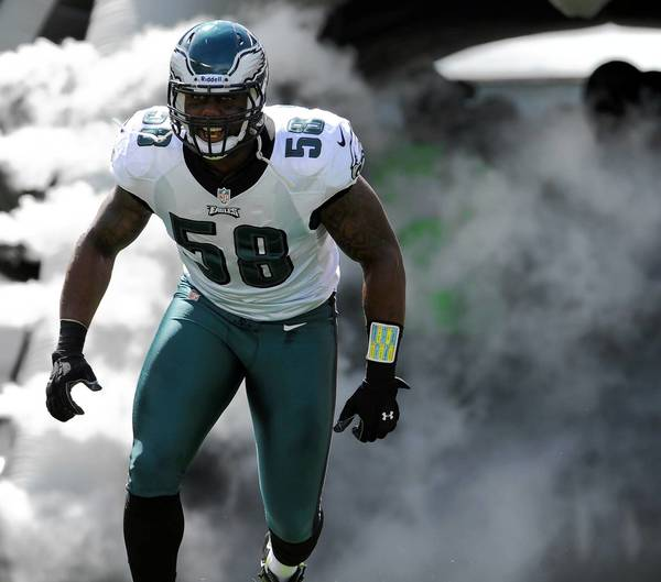 Philadelphia Eagles defensive end Trent Cole (58) enters at Lincoln Financial Field in Philadelphia on Sunday September 16, 2012.