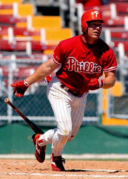 Phillies outfielder Lenny Dykstra powered the Phillies offense, leading the National League in hits in 1990 and '93.