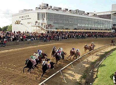 127th Preakness Stakes - Menacing Dennis leads the Preakness field to the first turn