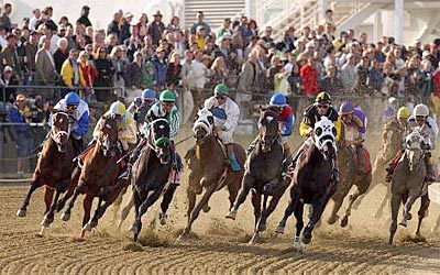 127th Preakness Stakes - Menacing Dennis leads in the first turn