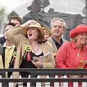 Kathleen Walsh cheers during the seventh race