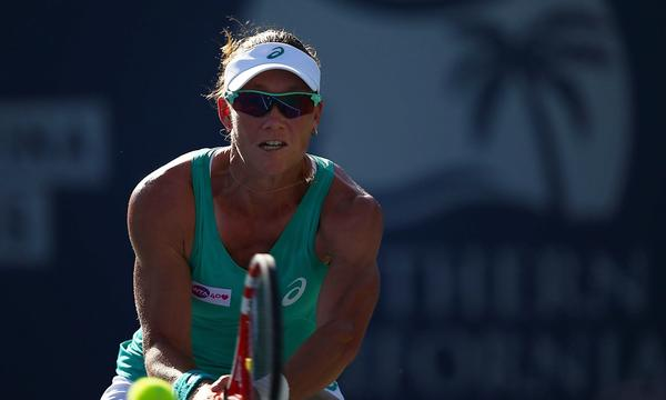 Samantha Stosur hits a backhand during her semifinal victory over Agnieszka Radwanska at the Southern California Open on Saturday.