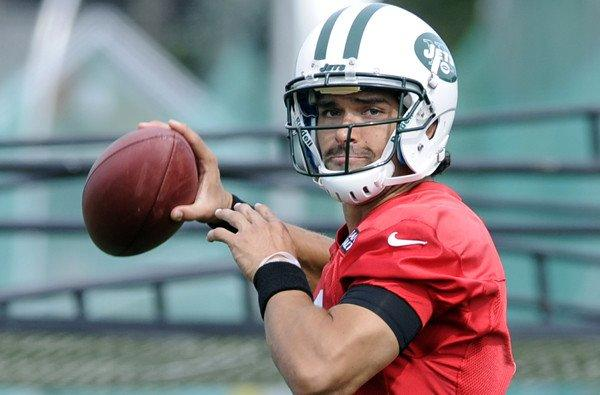 Jets quarterback Mark Sanchez takes part in a passing drill last week at training camp in Cortland, N.Y.