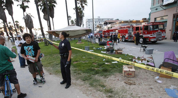 Scene at Venice boardwalk after car hit 12 people.