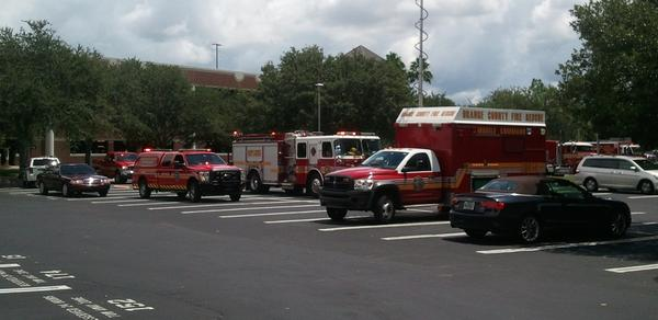 Local responders surround the CREOL building at UCF as they investigate a potentially hazardous situation.