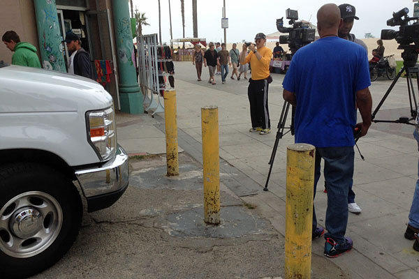 Existing barriers on Dudley Avenue, where suspect's vehicle entered Venice boardwalk. (Councilman Mike Bonin.)