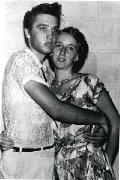 Ardys Bell Clawson (then Ardys Bell) with Elvis Presley in 1956, during a Jacksonville concert appearance. She had also seen the singer perform the previous year, when a near-riot erupted after his performance at what's now the Gator Bowl.