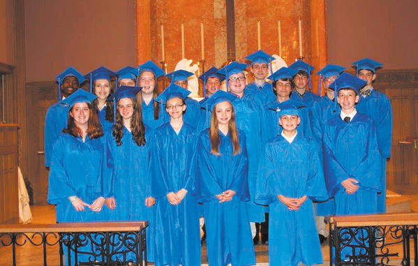 Pictured are the graduating eighth-graders. Row one, from left, Holly Kucharczyk, Madeleine Ward, Abigail Theis, Megan Ramirez and Nicholas Judge. Row two, Rebecca Mason, Alexandra Martin, Asher Starliper, Michael Cosey and Vincent Steiner. Row three, Hakim Fessuh, Bryan Tedeschi, William Jones, James Spinnler, Dalton Sponaugle, Andrew Dillard, Benjamion Gilks and Taylor Patterson.