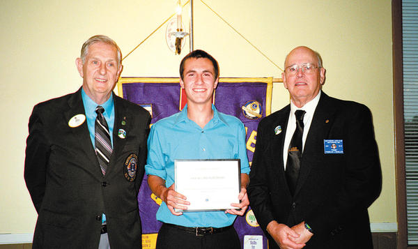 From left, District Gov. Paul Cannada, scholarship winner Kyle William Huntzberry and Smithsburg Lions Club President Frank Schaller.