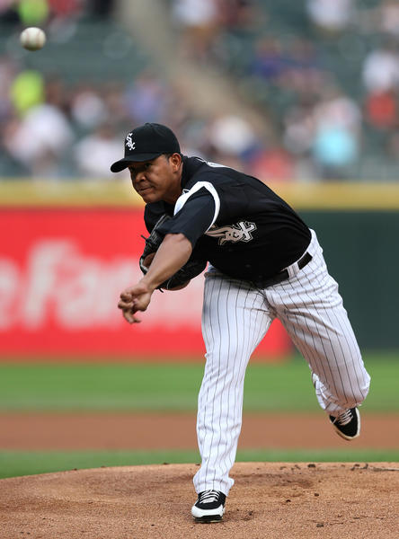 White Sox starting pitcher Jose Quintana delivers to the Royals in the first inning at U.S. Cellular Field.