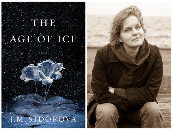 """The cover of """"The Age of Ice,"""" and author J.M. Sidorova."""