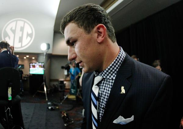 Texas A&M Aggies quarterback Johnny Manziel waits to go onto the set of ESPN during the 2013 SEC football media days at the Hyatt Regency.
