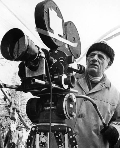 "Diector and producer Stanley Kramer on the set of his film ""R.P.M."""