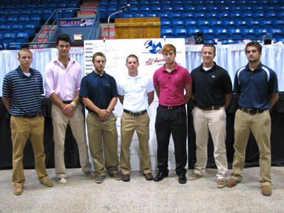 Somerset County baseball players who will appear in the 69th Annual AAABA National Tournament include, from left to right, for Johnstown-Martellas Conemaugh Township graduate Dillon Boyer and North Star graduate Tony Strasiser, for Johnstown-Delweld Somerset graduate Devon Pritts, Windber graduate Brad Ditzler, North Star graduate Stone Rice and Somerset graduates Austin Sleek and Drew Hemminger.