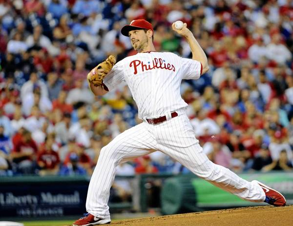 Phillies starting pitcher Cliff Lee gave up three earned runs on eight hits in five innings against the Atlanta Braves at Citizens Bank Park.