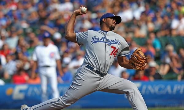 Dodgers closer Kenley Jansen delivers a pitch in the ninth inning of the Dodgers' 1-0 victory over the Chicago Cubs on Sunday.